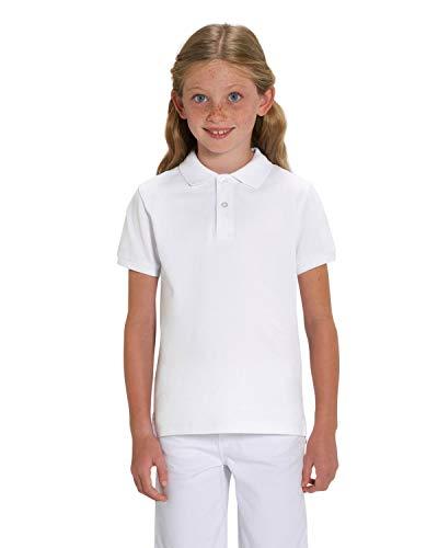 Hilltop Hochwertiges Kinder Poloshirt aus 100% Bio-Baumwolle für Mädchen und Jungen. Eignet sich hervorragend zum bedrucken. (z.B.: mit Transfer-Folien/Textilfolien), 134/146, Weiß