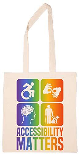 Enigmae Accessibility Matters Disabilities Pride Colors Reutilizable Compras Tienda de Comestibles Algodón Bolsa Reusable Shopping Bag