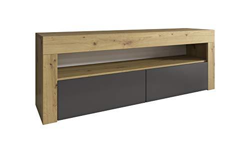 E-com - Mueble TV Luna - 140 cm, Roble Artesano/Antracita