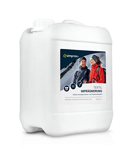 simprax® Textil Imprägnierung - 5 Liter - Imprägniermittel für Outdoor- und Funktionstextilien wie Gore-Tex, Sympatex, Softshell, Gewebe