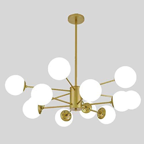 YUNLVC Kronleuchter Sputnik Modern Globus Für Esszimmer Wohnzimmer Stehtisch Cafe Pendelleuchte E27 Deckenleuchte Molekular Mit Glas Lampenschirm Industriell-12 Light Gold