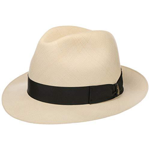 Borsalino Sombrero Panamá Prestige Bogart Mujer/Hombre - de Verano Sombreros Hombre con Banda Grosgrain Primavera/Verano - 57 cm Natural