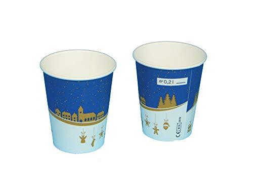 Pro DP 75 Bio Glühweinbecher Glühwein to go Becher einwandig PLA beschichtet 0,2l 200ml Eichstrich/Füllstrich für Weihnachten & Weihnachtsmarkt Made in Germany