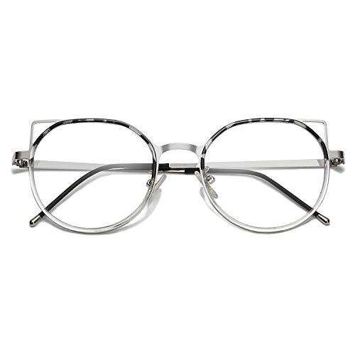 SOJOS Brille mit Blaulichtfilter Blaue Licht von PC, TV und Handy Blockieren Katzenauge ohne Sehstärke Damen Computerbrille SJ5059 Fox mit Siber Rahmen/Schildkrötenrand