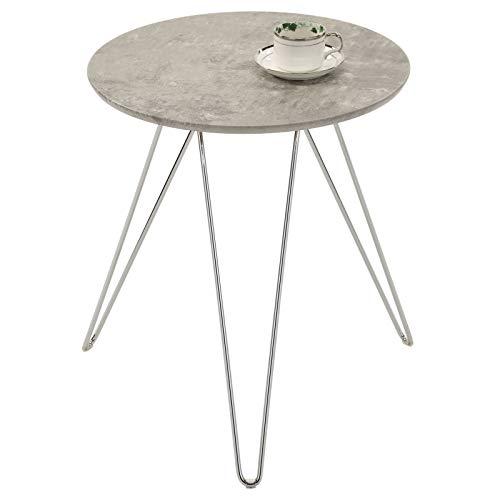 IDIMEX Table d'appoint BENNO Table à café Petite Table Basse Bout de canapé Design Retro Vintage Industriel avec Pieds en épingle en métal chromé, Plateau Rond en MDF décor béton Gris