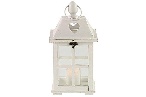 Countryfield Hope - Lanterna in legno/vetro, colore: Bianco