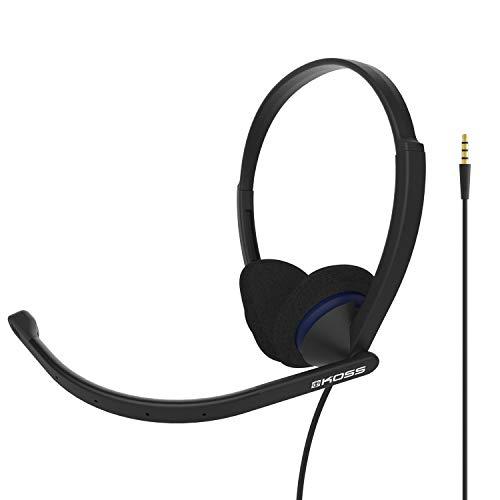 Koss CS200i On-Ear-Kommunikations-Headset, Boom-Mikrofon, verkabelt mit 3,5-mm-Stecker, Schwarz