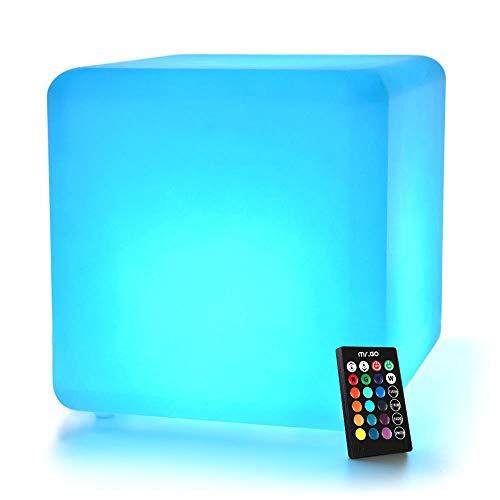 Mr.Go 30cm Sgabello Cubo Luce LED Cambiamento Colore, 16 Colori RGB Dimmerabile, 4 Modalità Luce, Telecomando, Luce Notturna Ricaricabile Mood Night Party Illuminazione Decorativa Ambientale