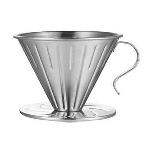 Bireegoo 1 x Edelstahl-Kaffeefilter-Kaffeefilterhalter aus Edelstahl, Kaffeefilter, kein Filterpapier (14 x 10 x 8,5 cm).