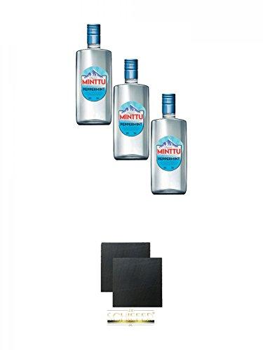 Minttu Peppermint 3 x 0,5 Liter (50%) + Schiefer Glasuntersetzer eckig ca. 9,5 cm Ø 2 Stück