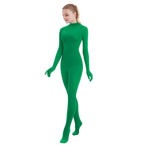 SUPRNOWA Unisex Turtleneck Full Body Spandex Long Sleeve Unitard Footed (XX-Large, Green)