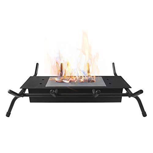 Chimenea de mesa con rejillas, sin ventilación para interiores y exteriores, cuenco portátil de bioetanol, chimenea en negro, parrilla de hierro forjado negro, soporte resistente...