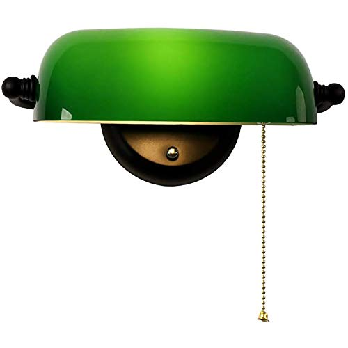 ZMLG Lámpara De Pared De Banquero De Vidrio Verde Con Interruptor, Pantalla De Vidrio Verde Jade Ajustable, Base De Metal, E27 Aplique De Pared Estilo Antiguo Para Oficina, Estudio Dormitorio