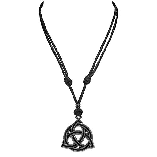 BlueRica Celtic Trinity Knot Triquetra Pendant on Adjustable Black Cord Necklace