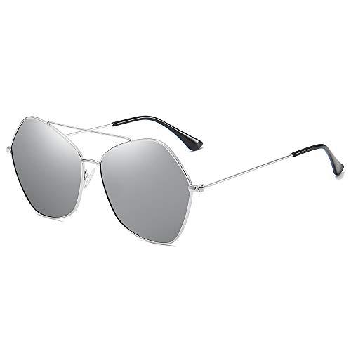 SOJOS Occhiali da Sole da Donna Esagonali Grandi Polarizzate Ultraleggeri NIMBUS SJ1125 con Argento Telaio/Argento Specchiata Lente