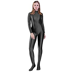 Kepblom Unisex Turtleneck Costume Unitard Spandex Long Sleeve Footed Bodysuit Zentai Suit Black