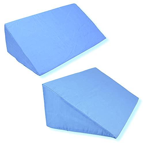 サポートクッション 三角マット 介護用 介助 ストレッチ まくら 寝返り補助 (2個セット ブルー)
