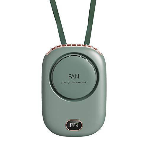 Ventilador portátil para colgar el cuello, de mano, recargable, con cordón ajustable, 3 velocidades de conmutación, para mujeres, niños, niñas, hombres, viajes al aire libre, camping, parque (verde)