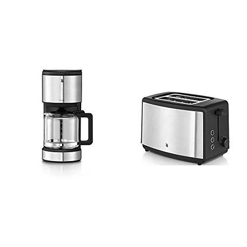 WMF Stelio Aroma Filterkaffeemaschine mit Glaskanne, 8 Tassen, 1000 W & Bueno Edition Toaster Edelstahl, Doppelschlitz Toaster mit Brötchenaufsatz, 2 Scheiben, 7 Bräunungsstufen, 800 W, edelstahl matt