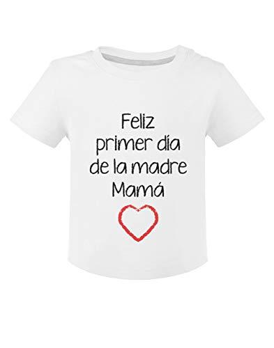 Camiseta para niños - Feliz Primer Día de la Madre - para Mamá en su Día 18M Blanco