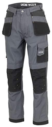 JCB Werkkleding D+IO/34 Trade Plus Rip Stop Broek, Regular Leg, Maat 34, Grijs/Zwart