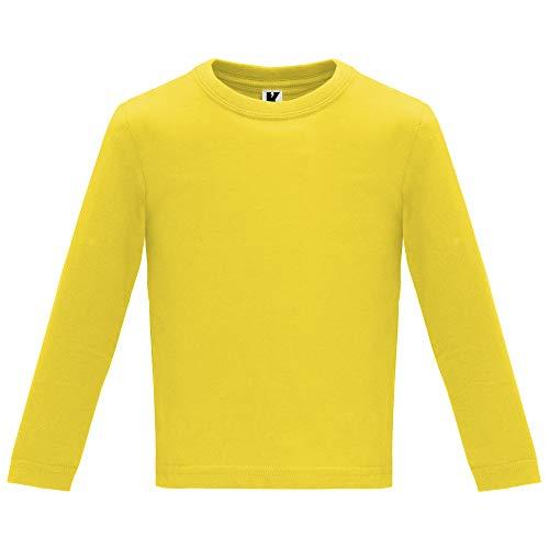 Camiseta de Colores con Manga Larga para Bebés - Prenda de algodón 100%, cómoda, Suave, cálida y Tacto Agradable (Amarillo, 12M)