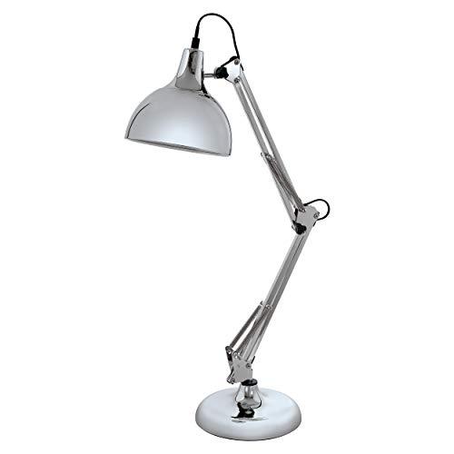 EGLO Tischlampe Borgillio, 1 flammige Vintage Schreibtischlampe im Industrial Design, Nachttischlampe aus Stahl, Farbe: chrom, Fassung: E27, inkl. Schalter