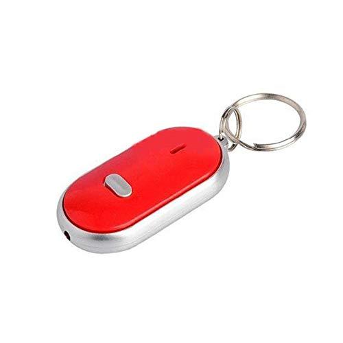 Fliyeong - Llavero de alta calidad con función de silbato LED intermitente con mando a distancia antipérdida, color rojo