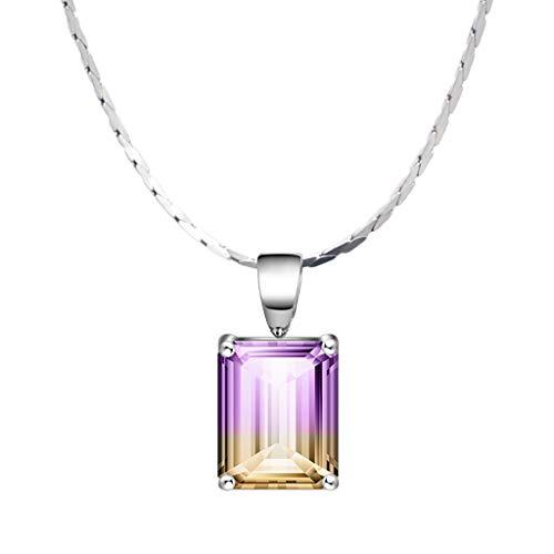 zlw-shop Collar de Mujer Amatista Collar de Plata Colgante de Collar Colgante Mujer 16 / 18inches de Cadena con joyería del Regalo Collares Pendientes (Size : 40CM)
