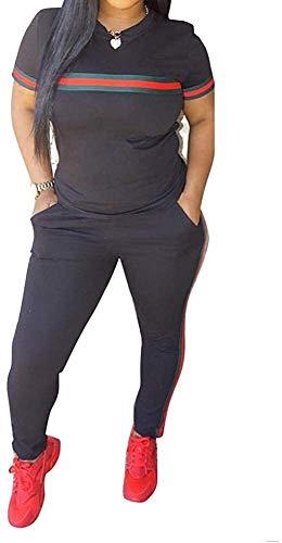 Sport Leggins,Yogahose Chic naar Max Womens trainingspak Set 2 stuks Plus Size Sports Outfits Top met lange mouwen en Bodycon broek joggingpak for Vrouwen Ladies (Color : A*Black, Size : XL)
