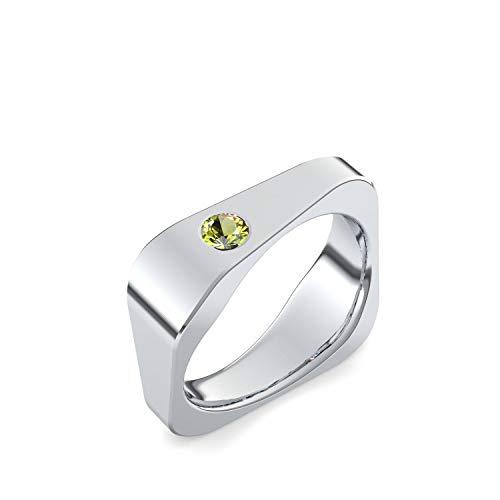 Eckiger Ring Silber Ring Peridot 925 + inkl. Luxusetui + Peridot Ring Silber Peridotring Silber (Silber 925) - Edged Amoonic Schmuck Größe 58 (18.5) TS03...