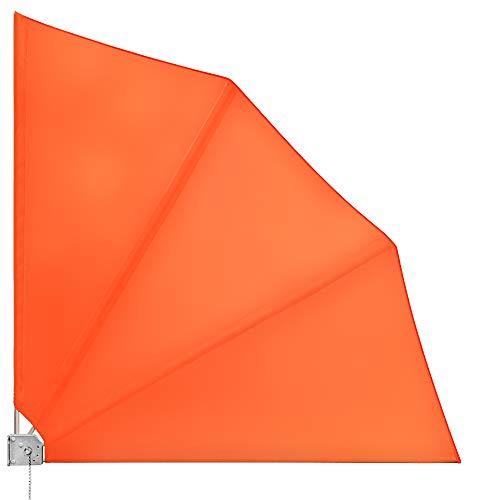Deuba - Brise Vue rétractable - Eventail de Balcon Pliable - Paravent Balcon rabbattable • Occultant • 140x140cm • Orange • avec Fixation Murale