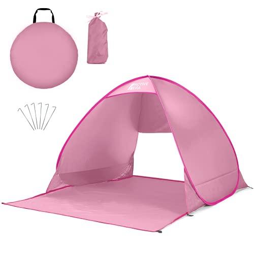 Active Era Tente de Plage Pop-Up - Protection Solaire UV UPF 50+ - Abri de Plage 2-3 Personnes - Sac de Transport et piquets - Rose
