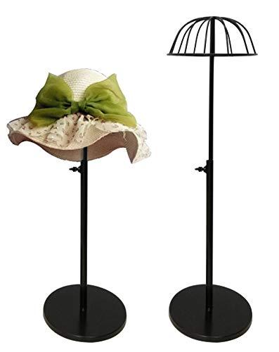 Queens 1 Pack Adjustable Height Hat Stand Metal Dome Shape Design Cap Hat Rack Tabletop Wig Display Rack(Black)
