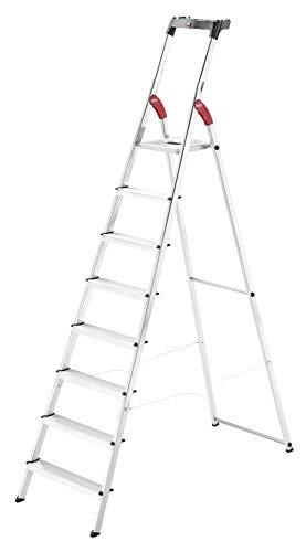 Hailo L60 StandardLine, Alu-Sicherheits-Stehleiter, 8 Stufen, Ablageschale, belastbar bis 150 kg, silber, Made in Germany, 8160-807