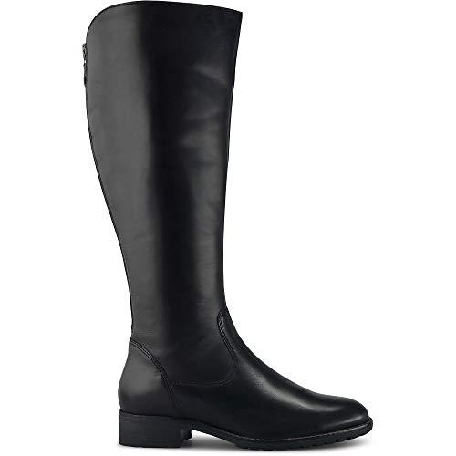 Cox Damen Klassik-Stiefel aus Leder, weiten-regulierbarer, puristischer Langschaft-Stiefel in Schwarz mit dezentem Blockabsatz Schwarz Glattleder 38