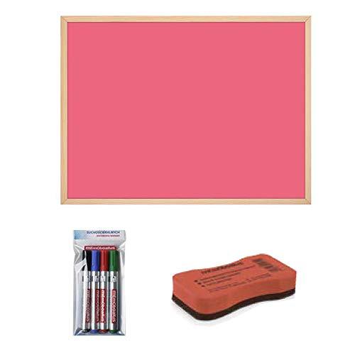 Magnettafel 60 x 40 pink mit zubehör 4 Stück Boardmarker (farbig) & Schwamm, Magnet-Board Tafel/Memoboard/Schreibtafel/Büro
