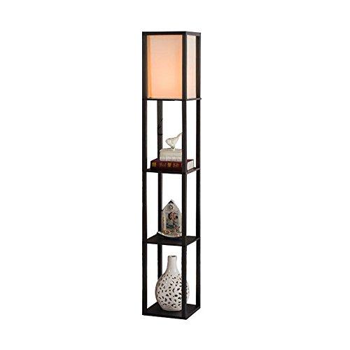 QIANGUANG® Innenbeleuchtung 1,6m Holz Stehleuchte mit Regalen für Schlafzimmer und Wohnzimmer (keine Glühbirne) (Black)