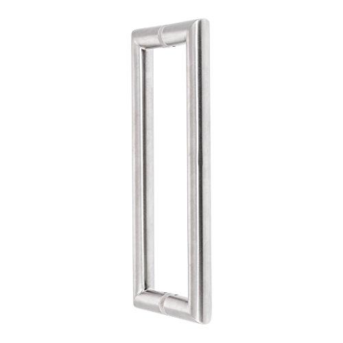 Griffpaar für Schiebetüren auf Gehrung   V2A Edelstahl matt   Lochabstand: 350 mm   Für Holz- und Glastüren