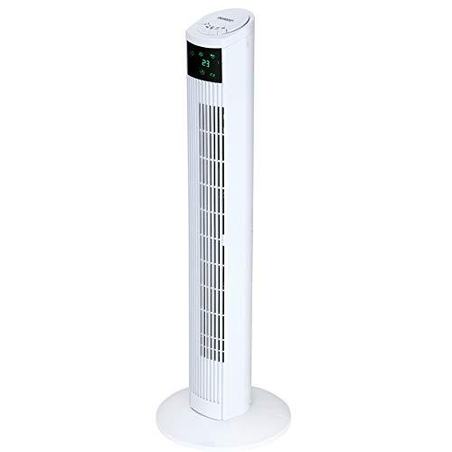 Monzana Turmventilator mit Fernbedienung 3 Geschwindigkeitsstufen digitales Display weiß - Säulenventilator Standventilator Luftkühler Ventilator