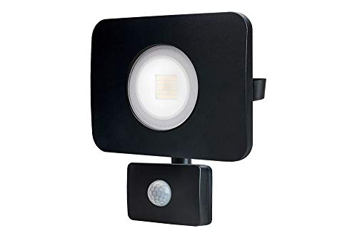 Foco LED compacto Integral resistente IP64, 30 W, 2700 lúmenes, 4000 K, ángulo de haz 110°, CRI  80, pintura negra, lente esmerilada, con sensor PIR