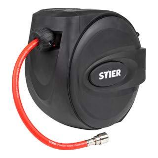 STIER Druckluft-Schlauchtrommel SST-15, Druckluftschlauch, Schlauchaufroller, 20 bar, Länge 15 m, flexible Anwendung, inklusive Auto-Stopp, Schlauchtrommel, Luftdruckschlauch, Druckluft