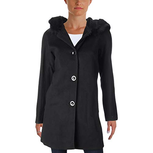 ELLEN TRACY Womens Winter Wool Blend Car Coat Black 2