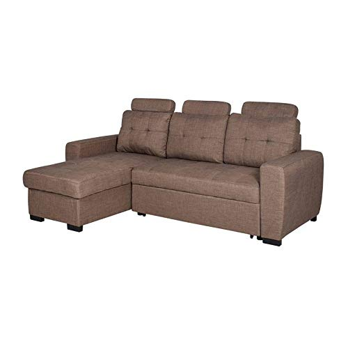 FURNITUREWALLA Bricia Fabric 2 Seater Sectional Sofa Cum Bed