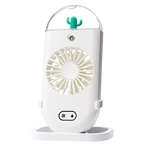 QINX Ventilador portátil de mano, funciona con pilas, mini ventilador personal, recargable por USB, color blanco