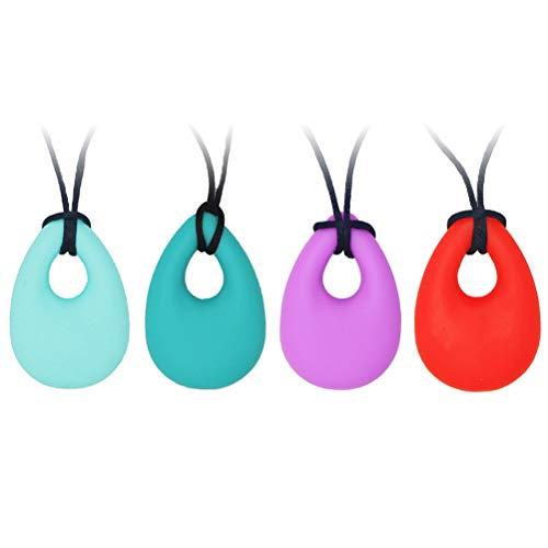 YINLANG Collar para Masticar sensorial, Collar, 4 Piezas Collar para Masticar sensorial, Juguetes para Masticar de Silicona de Grado alimenticio para niños, niñas y Adultos