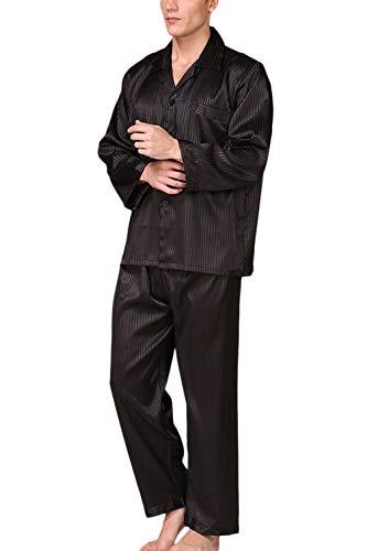 Vosujotis Männer Seide Pyjama Setzen Lange Ärmel Satin - Soft - Button - Down - Nachtwäsche Anzug schwarz XXL