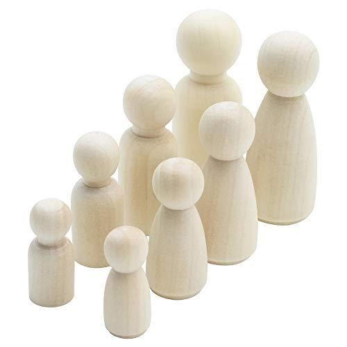 NewZC 36 Stück Holzfiguren Figurenkegel Familie Holzfiguren Mann Frau Junge Mädchen Kinder DIY Hölzerne Puppe Spielfiguren Holz Deko Figuren Holz für Hochzeit Geburtstag Bemalen BastelnHolz