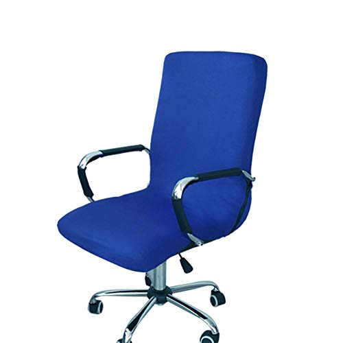 Dosige stoelhoes voor bureaustoel, elastisch, eenvoudig, draaibaar, voor computer, bureau, bureaustoel, draaistoel, afdekking (blauw) M Gris