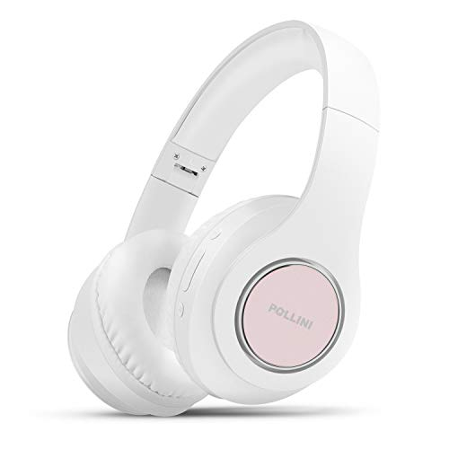 Bluetooth Headphones Over Ear, pollini Wireless Headset V5.0 with Deep Bass, Soft Memory-Protein Earmuffs and Built-in Mic for iPhone/Android Cell Phone/PC/TV (White)